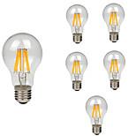 6pcs 8W E27 Lâmpadas de Filamento de LED A60(A19) 8 leds COB Decorativa Branco Quente Branco Frio 760lm 2200-6500K AC 180-240V