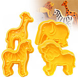 4Pcs/Set Cookie Plunger Cutters Biscuit Fondant Cake Mold 3D Animal Elephant Sugarcraft Decor Craft
