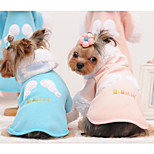 Cat Dog Hoodie Dog Clothes Casual/Daily Print Angel Blue Pink Costume For Pets