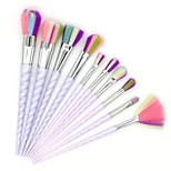 10 pcs Makeup Brush Set Synthetic Hair Full Coverage Plastic Blush