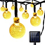 Solar String lights 8 Modes 23Ft 30LEDs Crystal Ball String Lights for Garden Summer Holiday Party Warm White