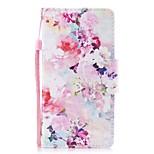 Кейс для Назначение Huawei P8 Lite (2017) P10 Lite Кошелек Бумажник для карт со стендом Флип С узором Чехол Цветы Твердый Искусственная
