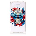 cheap -Case For Sony Xperia XZ1 Xperia XA1 Ultra-thin Transparent Embossed Pattern Back Cover Skull Soft TPU for Sony Xperia XZ1 Sony Xperia XA1