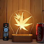 1 Set Of 3D Solid Wood LED Night Light USB Mood Lamp Remote Control Dimming Gift Maple Leaves