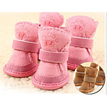 Cat Dog Pet Shoes Flat Keep Warm Leisure Solid Pink Brown