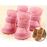 Кошка Собака обувь для собак На плоской подошве Сохраняет тепло Для отдыха Однотонный Коричневый Розовый Для домашних животных