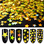 6 Bottles/Set Five-Pointed Star Nail Art Glitter Sequins 6 Colors Mixed Laser Holographic Nail Glitter Powder Women Nail Decoration Manicure Tools