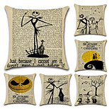 Set Of 6 Vintage Newspaper Design Pumpkin Pillow Cover Novelty Cartoon Cushion Cover 45*45Cm