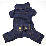 Dog Jumpsuit Dog Clothes Casual/Daily British Light Blue Dark Blue Costume For Pets