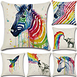 6 pcs Cotton/Linen Pillow Case Pillow CoverGraphic Prints Traditional/Classic Euro Retro