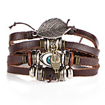 cheap -Men's Women's Wrap Bracelet Vintage Fashion Ethnic Leather Alloy Leaf Evil Eye Jewelry For Party Birthday Gift Going out