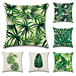 Set Of 6 Tropical Plant Leaves Pillow Cover Classic Sofa Cushion Cover Cotton/Linen Pillow Case 45*45Cm