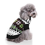 cheap -Cat Dog Sweaters Dog Clothes Casual/Daily Lolita Christmas New Year's Color Block Black Costume For Pets