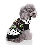 Недорогие -Кошка Собака Свитера Одежда для собак На каждый день Лолита Рождество Новый год Контрастных цветов Черный Костюм Для домашних животных