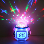 1pcs Music Starry Sky Projection Color Change LED Digital Projection Alarm Clock BedRoom Night Light No Battery