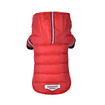 Dog Coat Puffer / Down Jacket Dog Clothes Cotton Winter Stylish Solid Gray Red For Pets