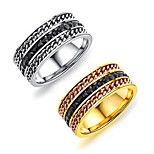 Men's Band Rings Fashion Vintage Titanium Steel Gold Plated Circle Jewelry For Wedding Party