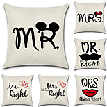 6 pcs Cotton/Linen Pillow Case Pillow Cover,Fashion Letter Quotes & Sayings Traditional/Classic Euro Retro