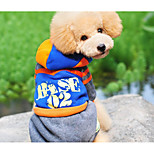 Dog Jumpsuit Dog Clothes Acrylic Fibres Winter Spring/Fall Casual/Daily Letter & Number Blue Costume For Pets