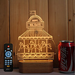1 Set Of 3D Solid Wood LED Night Light USB Mood Lamp Remote Control Dimming Gift Playground