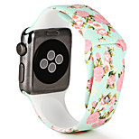 Watch Band For Apple Watch Series 3 / 2 / 1 Silicone Flower Style Replacement Bracelet Strap 38mm 42mm