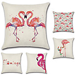 Set Of 5 Tropical Flamingo Printing Cushion Cover Cotton/Linen Sofa Pillow Case 45*45Cm