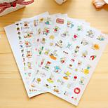 6 Pcs/Set Rabbit And Cat Diary Sticker Phone Sticker Scrapbook Stickers