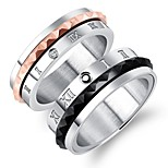 Men's Women's Rings Set Rhinestone Fashion Elegant Rhinestone Titanium Steel Circle Jewelry For Wedding Engagement