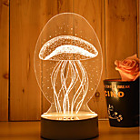 1 Set Of Decorative Acrylic 3d Night Light LED Bedroom Lamp Mood Lamp, Hand Scanning, Dimming, Color Change, 3W, Jellyfish