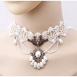 cheap -Women's Simple Fashion Choker Necklace Imitation Pearl Imitation Pearl Cloth Alloy Choker Necklace , Simple Fashion Daily