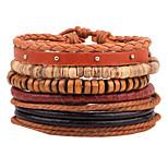 cheap -Men's Women's Strand Bracelet Wrap Bracelet Vintage Fashion Ethnic Wooden Hemp Rope Leather Circle Geometric Line Jewelry Party Gift