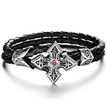 Men's Bracelet ID Bracelets Cubic Zirconia Fashion Rock Leather Titanium Steel Geometric , Jewelry Daily Street