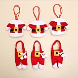 cheap -6 Pcs/Set Christmas Santa Silverware Holders Pockets Dinner Decor