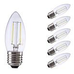 abordables -6pcs 2W 250/200lm E27 Bombillas de Filamento LED C35 2 LED COB Luces LED Decorativa Blanco Cálido Blanco Fresco 6500/2700K AC 100-240V