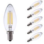abordables -6pcs 3.5W 350lm E14 Bombillas de Filamento LED C35 4 LED COB Regulable Luces LED Decorativa Blanco Cálido 2700K AC 100-240V
