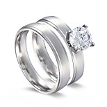 Men's Women's Band Rings Cubic Zirconia Classic Korean Stainless Steel Circle Four Prongs Jewelry For Daily Carnival