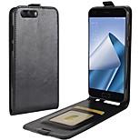 Недорогие -Кейс для Назначение Asus Zenfone Zenfone 4 ZE554KL Zenfone 4 MAX ZC554KL Бумажник для карт Флип Чехол Сплошной цвет Твердый Искусственная