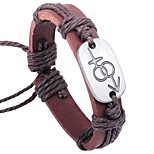 cheap -Men's Bracelet , Simple Sweet Lovely Leather Alloy Circle Jewelry Valentine Date