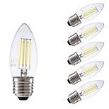 abordables -6pcs 3.5W 400lm E27 Bombillas de Filamento LED C35 4 LED COB Regulable Luces LED Decorativa Blanco Fresco 6500K AC 100-240V