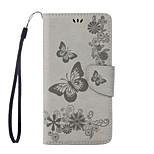 Недорогие -Кейс для Назначение Motorola G5 Plus G4 Plus Бумажник для карт Кошелек со стендом Флип Рельефный Чехол Бабочка Твердый Искусственная кожа