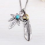 cheap -Men's Wings / Feather Rock Pendant Necklace Turquoise Alloy Pendant Necklace , Street Going out