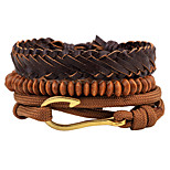 cheap -Men's Women's Strand Bracelet Wrap Bracelet Fashion Hiphop Gothic Wooden Hemp Rope Leather Circle Waves Hook Jewelry Daily Evening Party