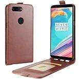 Недорогие -Кейс для Назначение OnePlus 5 OnePlus 5T Бумажник для карт Флип Чехол Сплошной цвет Твердый Искусственная кожа для One Plus 5 OnePlus 5T