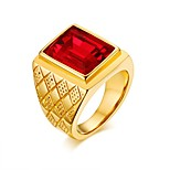 cheap -Men's Band Rings Synthetic Ruby Casual Fashion European Stainless Steel Circle Jewelry Date Street