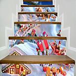 Недорогие -Архитектура Рождество Наклейки Корпус Простые наклейки 3D наклейки Декоративные наклейки на стены Свадебные наклейки,Бумага Винил