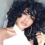 Недорогие -жен. Парики из искусственных волос Средний Свободные волны Черный С чёлкой Парик из натуральных волос Парики к костюмам