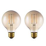 abordables -2pcs 2W 180lm E26 Bombillas de Filamento LED G25 2 LED COB Regulable Luces LED Decorativa Blanco Cálido 2200K AC 110-130V