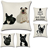 cheap -Set Of 5 French Bulldog Pattern Pillow Cover Cotton/Linen Dog Pillow Case Square Sofa Cushion Cover