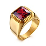 cheap -Men's Band Rings Synthetic Ruby Casual Fashion European Stainless Steel Geometric Jewelry Holiday Going out
