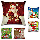 cheap -Set Of 5 Christmas Cartoon Father Christmas Printing Pillow Cover Square Cushion Cover 45*45Cm Pillow Case